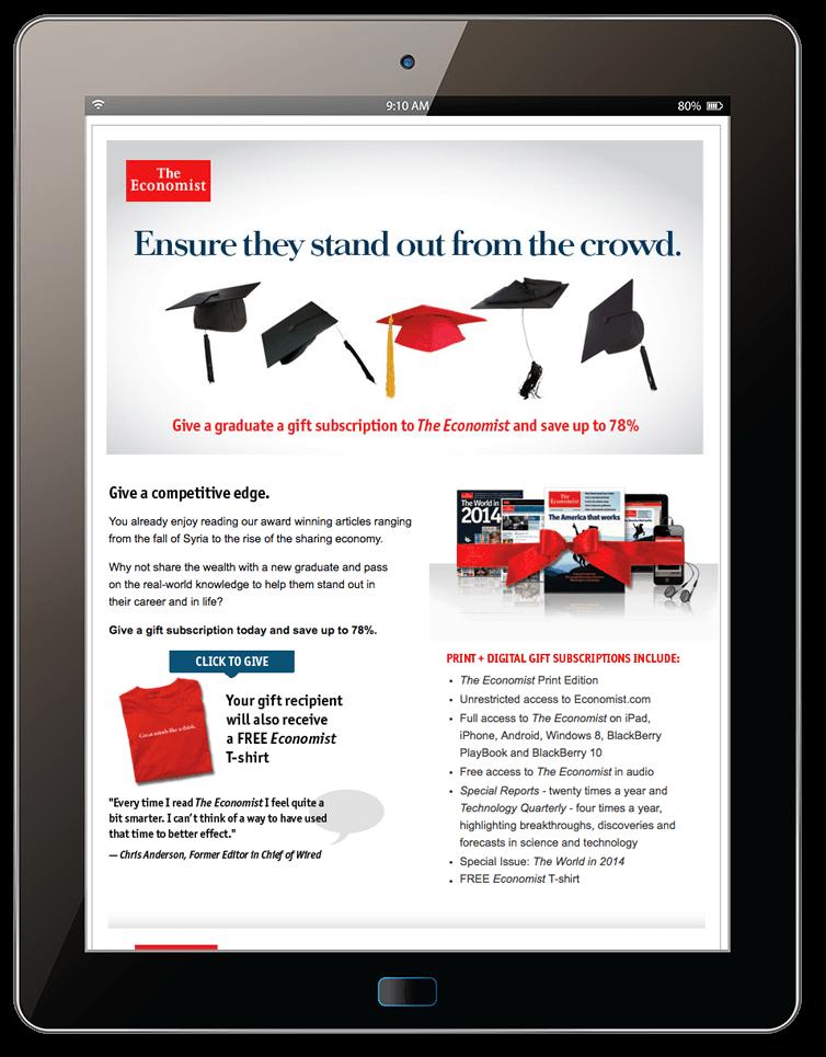 The Economist. Subscription acquisition through offline and online channels.